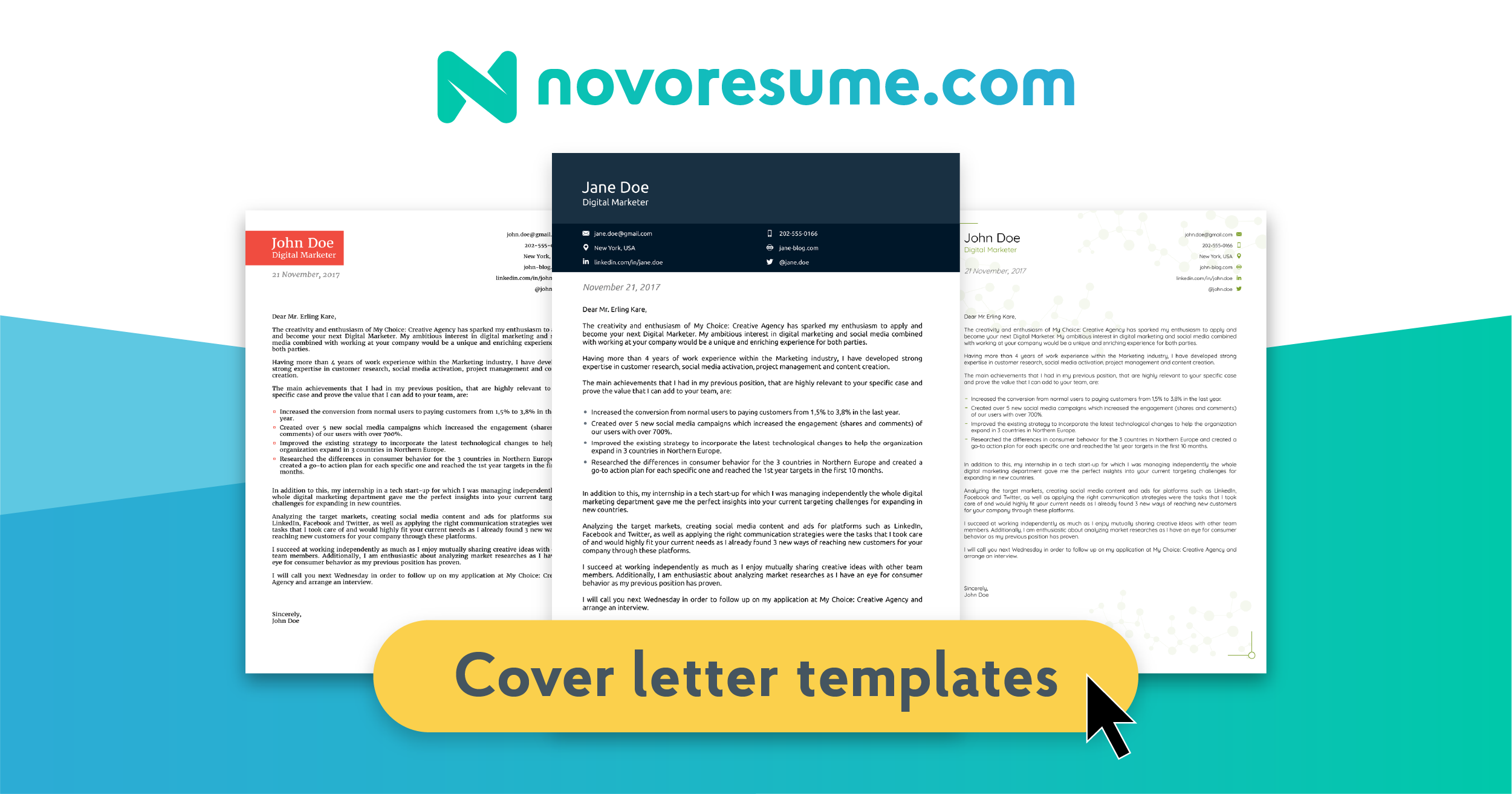 8 Cover Letter Templates Get Started In 1 Click